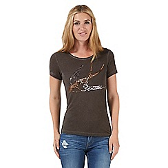Nine by Savannah Miller - Grey sequinned swallow t-shirt