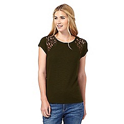 Nine by Savannah Miller - Dark green lace detail jersey top