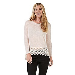 Nine by Savannah Miller - Pale pink lace hem jersey top