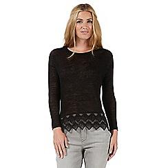 Nine by Savannah Miller - Black lace hem jersey top