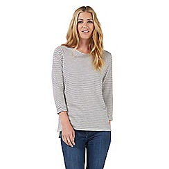 Nine by Savannah Miller - Ivory and navy blue striped top
