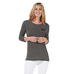 Nine by Savannah Miller - Grey sequin embellished jersey top