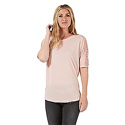 Nine by Savannah Miller - Pale pink lace detail jersey top