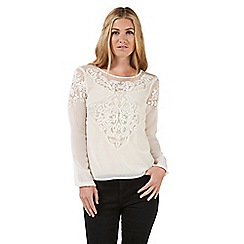 Nine by Savannah Miller - Cream embroidered lace blouse