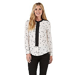 Nine by Savannah Miller - Pale grey swallow print blouse