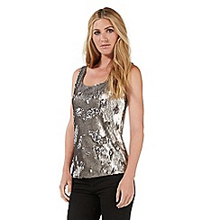 Nine by Savannah Miller - Silver sequinned vest top