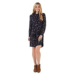Nine by Savannah Miller - Navy blue swallow print dress