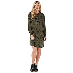 Nine by Savannah Miller - Dark green 'Bloomsbury' swallow print shirt dress