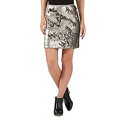 Nine by Savannah Miller - Silver sequinned skirt