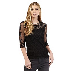 Nine by Savannah Miller - Black semi-sheer top