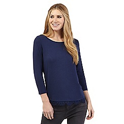 Nine by Savannah Miller - Blue lace hem jersey top