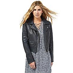 Nine by Savannah Miller - Dark grey leather jacket
