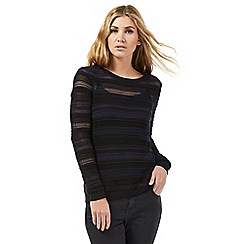 Nine by Savannah Miller - Black and blue textured striped jumper