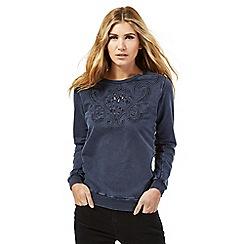 Nine by Savannah Miller - Blue cutwork detail sweatshirt