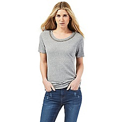 Nine by Savannah Miller - Grey embellished neckline t-shirt