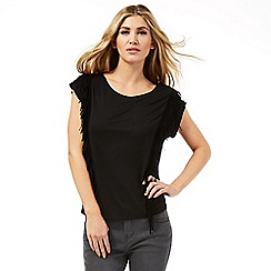 Nine by Savannah Miller - Black fringed t-shirt