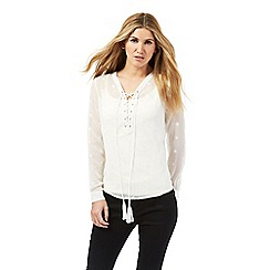 Nine by Savannah Miller - White embroidered star blouse