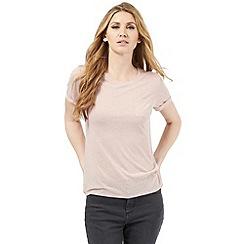 Nine by Savannah Miller - Pale pink linen blend t-shirt