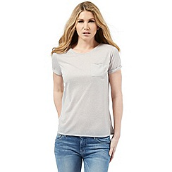 Nine by Savannah Miller - Pale grey linen blend t-shirt