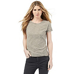 Nine by Savannah Miller - Khaki green striped t-shirt