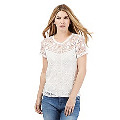 Nine by Savannah Miller - Ivory crochet front top