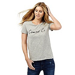 Nine by Savannah Miller - Pale grey slogan t-shirt