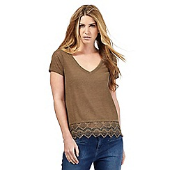 Nine by Savannah Miller - Khaki green lace hem top
