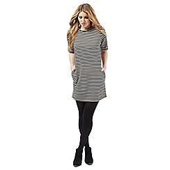Nine by Savannah Miller - Black and ivory striped dress
