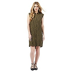 Nine by Savannah Miller - Khaki green sleeveless swallow print dress