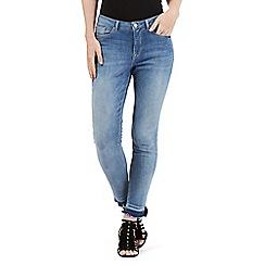 Nine by Savannah Miller - Light blue skinny frayed hem jeans