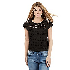 Nine by Savannah Miller - Black cutwork lace top