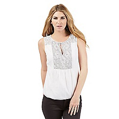 Nine by Savannah Miller - White sequin embellished sleeveless top