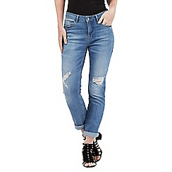 Nine by Savannah Miller - Mid blue rip detail boyfriend jeans