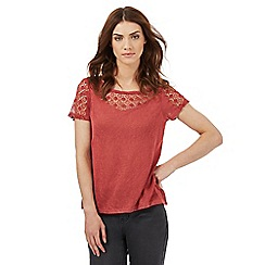 Nine by Savannah Miller - Coral lace yoke t-shirt