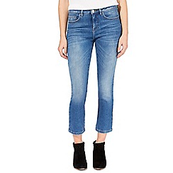 Nine by Savannah Miller - Mid blue cropped straight leg jeans