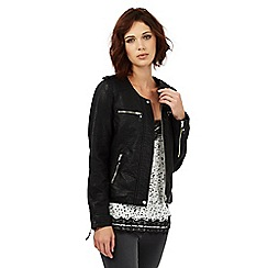 Nine by Savannah Miller - Black collarless faux leather jacket