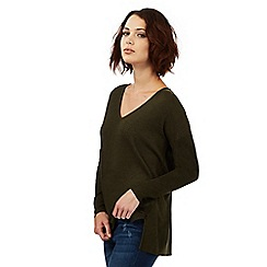 Nine by Savannah Miller - Khaki green pointelle detail jumper