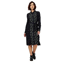 Nine by Savannah Miller - Navy blue animal and star print shirt dress