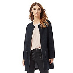 Nine by Savannah Miller - Navy blue collarless lightweight coat