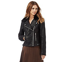 Nine by Savannah Miller - Black faux fur collar PU jacket