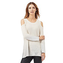 Nine by Savannah Miller - White and metallic silver cold-shoulder jumper