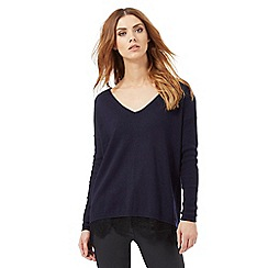 Nine by Savannah Miller - Navy blue lace trim jumper