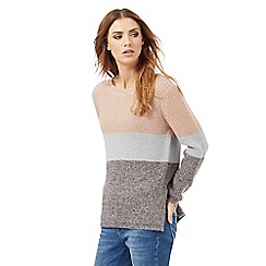 Nine by Savannah Miller - Pink and grey colour block jumper with wool
