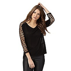 Nine by Savannah Miller - Black lace sleeves top
