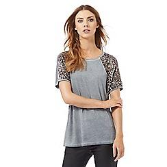 Nine by Savannah Miller - Blue sequin shoulder t-shirt