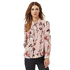Nine by Savannah Miller - Pink rose print pussy-bow blouse