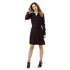 Nine by Savannah Miller - Dark blue and red check shirt dress