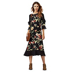 Nine by Savannah Miller - Black rose print frill detail midi dress