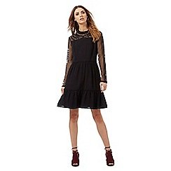 Nine by Savannah Miller - Black embroidered tiered dress