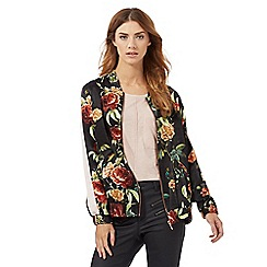 Nine by Savannah Miller - Black rose print bomber jacket